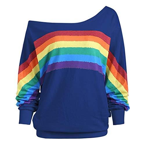 Women Sweatshirt,Realdo Casual Slanting Shoulder Loose Long Sleeve Rainbow Print Pullover Blouse Shirts(Blue,XX-Large)