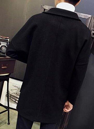 Blend Wool Casual Loose Jacket Mens Solid UK Black Sleeve Long today Pea xY0B6