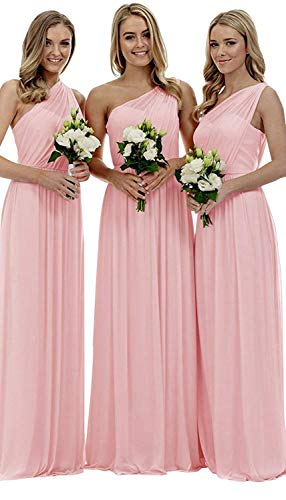 YORFORMALS Women's One-Shoulder Ruched Chiffon Long Party Dress Formal Evening Gown Size 14 Pink