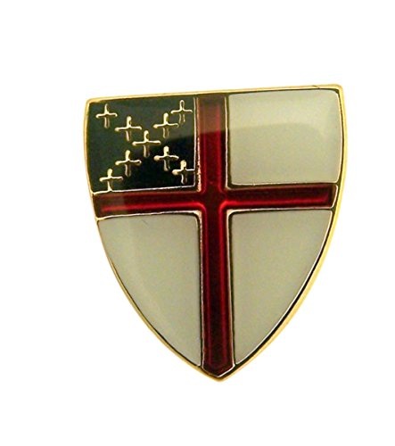 SINGER Gold Tone and Enamel Episcopal Church Arms Cross Lapel Pin, 1/2 ()
