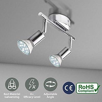 KINGSO Base GU10 LED Lámpara de Techo Proyector Giratorio Diseño de Doble Cabeza Único para GU10 Soporte de Lámpara Ideal para Cocina, Dormitorio, ...