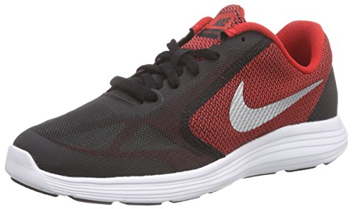 NIKE Boys' Revolution 3 Running Shoe (GS), University Red/Metallic Silver/Black, 5 M US Big Kid (Nike Little Girls Tennis Shoes)