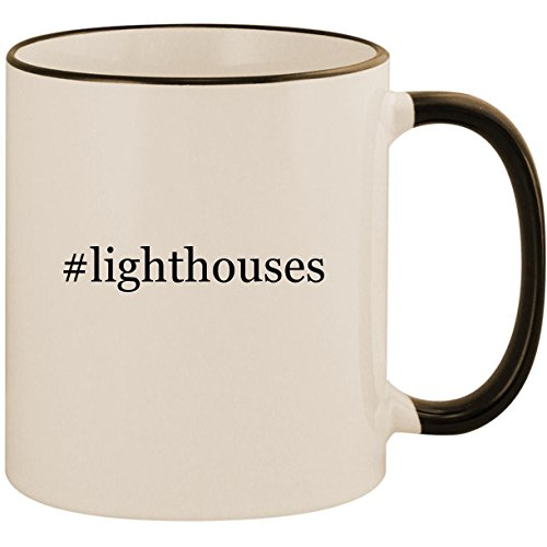 Harbour Lights Ornament - #lighthouses - 11oz Ceramic Colored Handle & Rim Coffee Mug Cup, Black