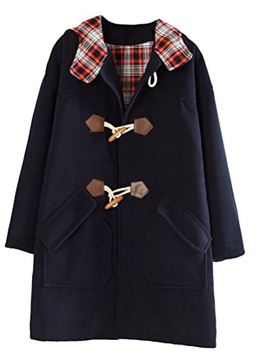 Minibee Women's Outdoor Wool Blended Hooded Pea Coat Duffle Jacket Blue L Womens Toggle Coat