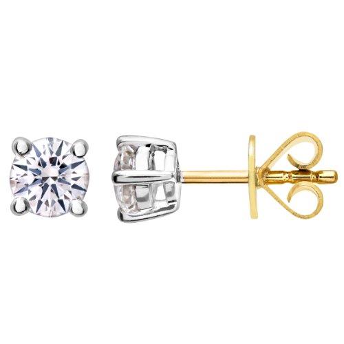 Revoni-Boucles d'Oreilles Clous en Or Jaune 18Carats Diamant rond brillant certifié IJ/I diamant Boucles d'oreilles 0,50ct, poids du Diamant