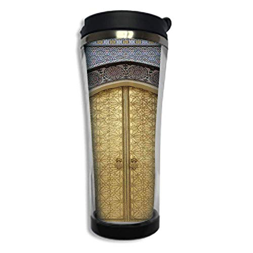 - Travel Coffee Mug 3D Printed Portable Vacuum Cup,Insulated Tea Cup Water Bottle Tumblers for Drinking with Lid 8.45 OZ(250 ml)by,Moroccan Decor,Antique Doors Morocco Gold Doorknob Ornamental Carved In