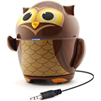GOgroove Portable Rechargeable Stereo Speaker with Owl Animal Design and Built-in Retractable 3.5mm Cord - Works with iPods , Tablets , MP3 Players , Smartphones and More Devices