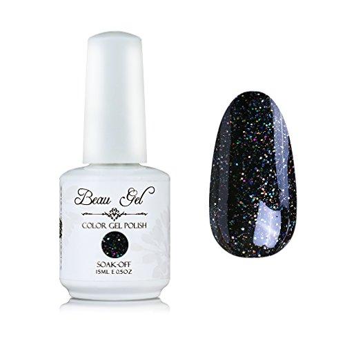 Black Glitter Nail Polish Soak Off UV LED Professsional D Gel Nail Varnish Beau Gel 15ml (367)