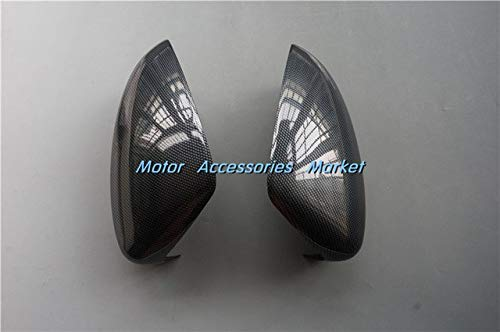 (Exterior Parts New 2Pcs Chrome Carbon Fiber Style Rearview Mirror Cover Trim For Mazda 3 M3 Axela 2014 2015 2016 Sedan Hatchback - (Color: Carbon Fiber Style))