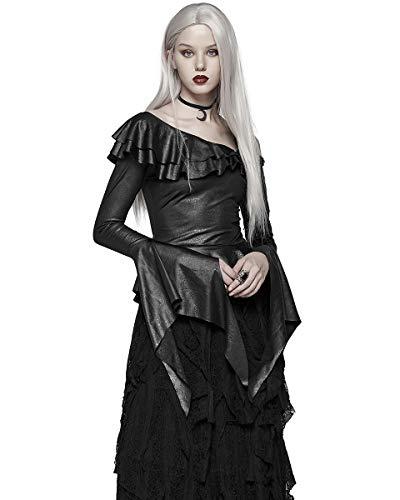 Damas Femmes Sorcière Haut Rave Cuir Noir Sorcellerie Punk Gothique Occulte Simili iTXZPluOwk