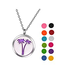 Stainless Steel Aromatherapy Essential Oil Diffuser Necklace with Unique Design for Women,Silver Tone