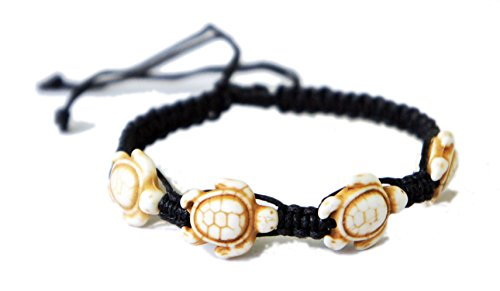Price comparison product image Brown Turtle Macrame Bracelet Hemp Handmade Reggae Jamaican Hawaiien Style