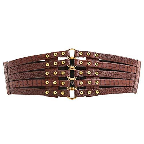 Syuer Womens Faux Leather 5 Metal Rings Wide Waist Belt Elastic Waist Belt (X-Large (37