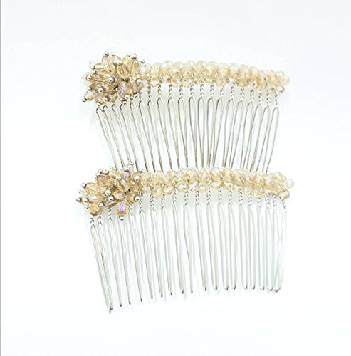 UNIQUE: PACK 2 WEDDING FLOWER HAIR COMB SLIDE CLIPS HANDMADE CZECH FIRE POLISHED BEADS (BEIGE (Polished Slide Jewelry)