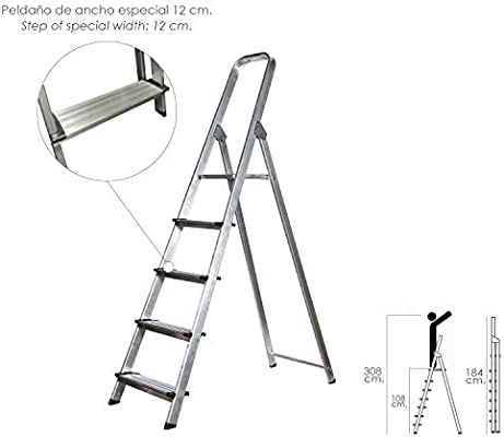 Escalera Aluminio Maurer Doméstica Profesional En131 - 5 Peldaños: Amazon.es: Hogar