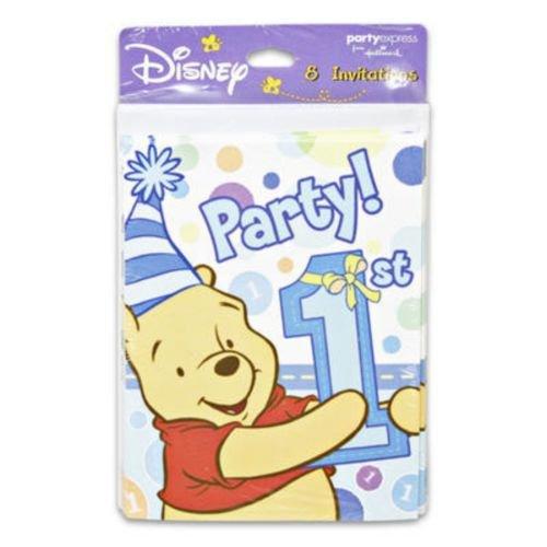 Pooh's 1st Boy Invitations - Pooh's 1st Boy Invitations Pack
