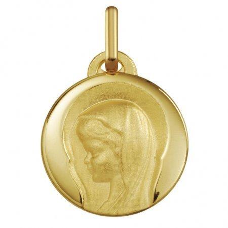 VIERGE MARIE AURÉOLÉE - Médaille Religieuse - Or 18 carat - Hauteur: 17 mm - www.diamants-perles.com