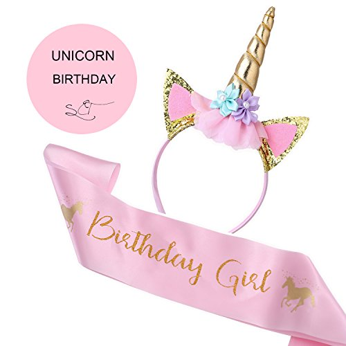 TiiMi Party Unicorn Birthday Girl Set of Gold Glitter Unicorn Headband and Pink Satin Sash for Girls Happy Birthday Unicorn Party Supplies, Favors and Decorations