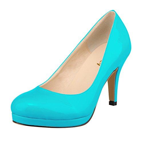 Mei & S Dames Stiletto Talons Bouche Plat Partie Discotheque Chaussures Plate-forme Foh De Mariage Pompes Bleu