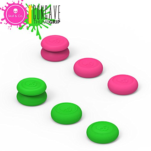 Skull & Co. Skin, CQC and FPS Thumb Grip Set Joystick Cap Analog Stick Cap for Nintendo Switch Pro Controller & PS4 / Slim / Pro Controller- Neon Pink+Green[Splatoon2 Edition], 3 Pairs(6pcs) ()