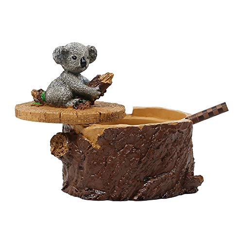 SEA or STAR Outdoor Ashtrays for Cigarettes Cute Resin Koala Ashtray with Lid for Home and Garden