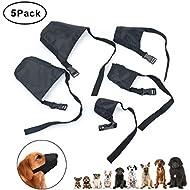 Idepet 1SET Dog Muzzles Suit,5PCS Adjustable Dog Mouth Cover Anti-Biting Barking Muzzles for Small Medium Large Extra Dog,Dog Muzzle Mesh Mask Black