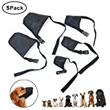 Idepet 1SET Dog Muzzles Suit,5PCS Adjustable Dog Mouth Cover Anti-Biting Barking Muzzles for Small Medium Large Extra Dog,Dog Muzzle Mesh Mask Black