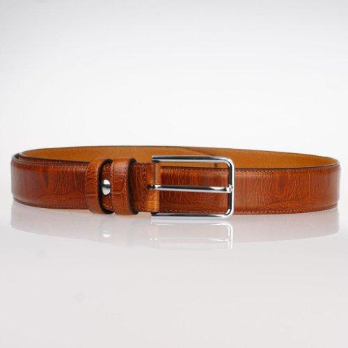 "Golden_fame Men Pin Buckle Italian Cowhide Full Grain Leather Belt 32mm/1.3"" Brown GFOH11C1006 X-L(Waist 100-105cm)"