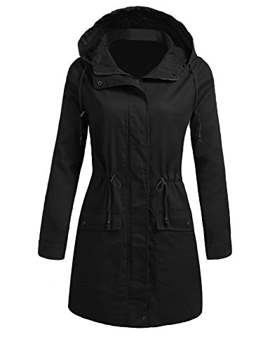 Bifast Black Parka Casual Work Full Sleeve Mid Length Ladies Hooded Coats,Black,Large
