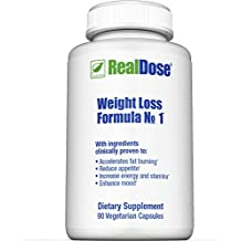 RealDose Nutrition's Weight Management Formula No.1 – Includes Piper Betle Leaf and Dolichos Biflorus (LOWAT), Decaf Green Coffee Bean Extract (SVETOL) & Rhodiola Rosea – 90 Vegetable Capsules