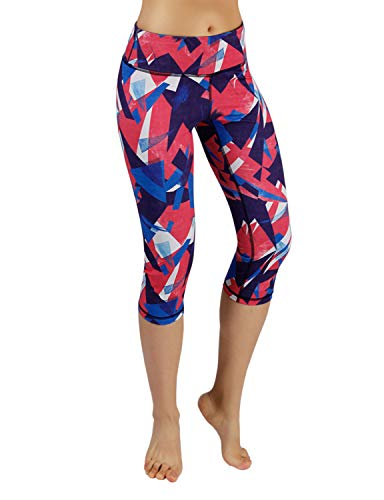 ODODOS Printed Workout Capris,Tummy Control Non See-Through Athletic Active Yoga Capris with Pocket,Triangle,Large