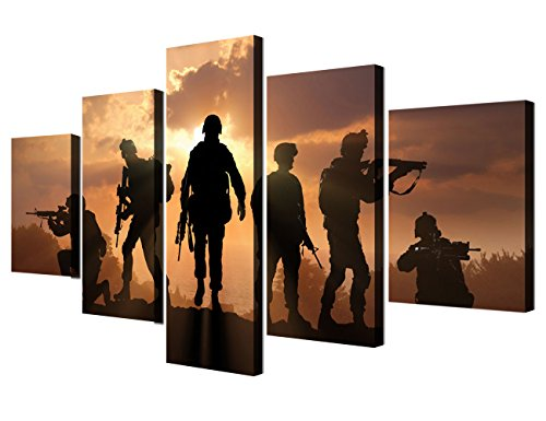 Army Canvas Wall Art Military Native American Soldiers Pcitures 5 Panel Paintings Modern Artwork Men Home Decor for Living Room Framed Gallery-wrapped Ready to Hang Posters and Prints(60''Wx32''H)
