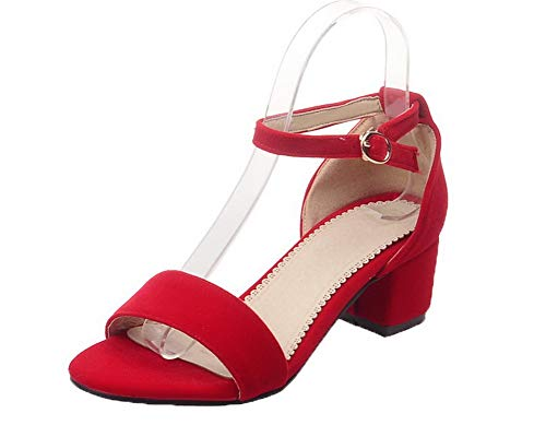 Fibbia Rosso Tacco Donna Puro Agoolar Plastica Medio Sandali Gmmlb010311 wqtZI8C