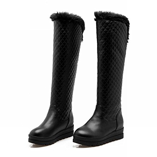 Heel Shine Snow Boots Show Mid Tall Platform Womens Winter Warm Black AxCgg6q4Xw