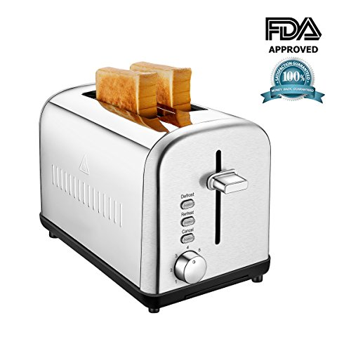 Toasters 2 Slice Extra Wide Slot Brushed Stainless Steel, Two Slice Silver Bread Toaster Compact with Removable Crumb Tray, Defrost/Reheat/Cancel Function, 7 Browning Setting (K012)