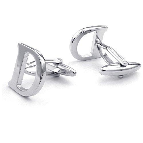 (HONEY BEAR Initial Alphabet Letter Cufflinks for Mens Wedding Gift Silver D)