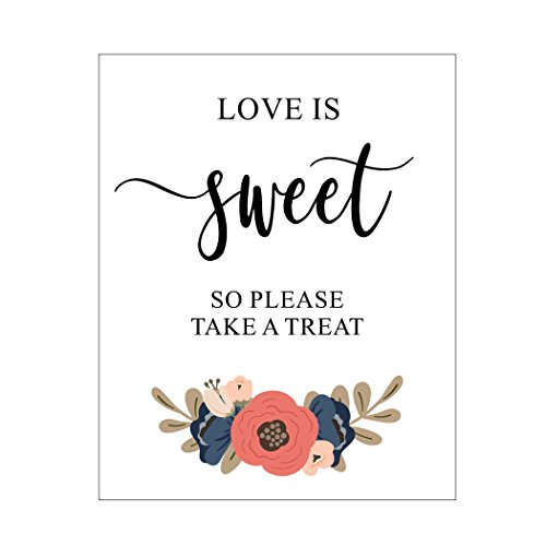 (Love Is Sweet, Take a Treat, Candy Bar Sign, Blush Pink and Navy Blue, Candy Buffet, Blush Flowers, Script)
