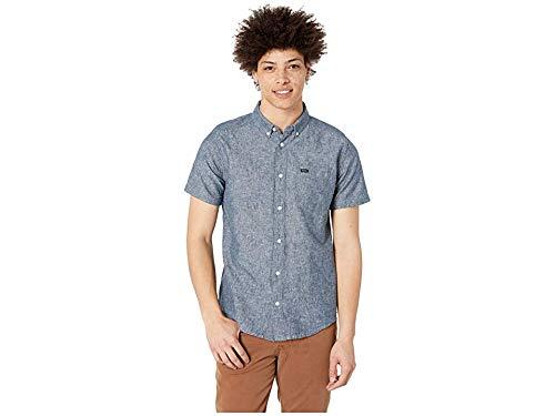 RVCA Men's Thatll DO HI Grade Short Sleeve Woven Button Front Shirt, Indigo, - Woven Linen Cotton