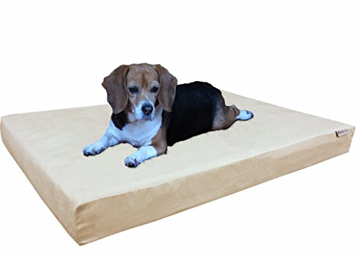 dogbed4less Orthopedic Gel Memory Foam Dog Bed with Microsuede Khaki Cover, Waterproof Liner and Extra Replacement Pet Bed Case, Large 41X27X4 Inches Fit 42X28 Crate (Relieve Heated Mattress Therapeutic Pad)