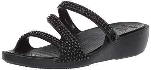 (Crocs Women's Patricia Diamante Sandal Slide Black, 9 M)