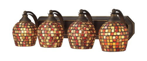 Elk 570-4B-MLT 4-Light Vanity In Aged Bronze and Multi Mosaic Glass (Mlt Vanity Vanity Light)
