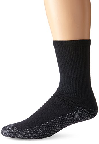 Fruit of the Loom Men's 6 Pack Heavy Duty Reinforced Cushion Full Crew Socks, Black, Shoe Size: 6-12