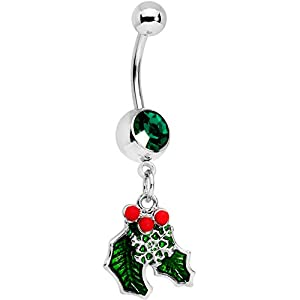 Body Candy 14G 12mm 316L Steel Navel Ring Green Accent Winter Snow Mistletoe Belly Button Ring 1/2