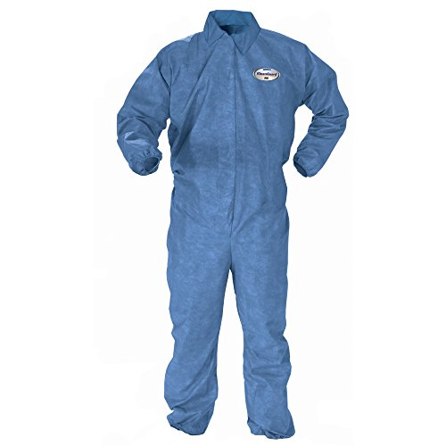(Kleenguard Chemical Resistant Suit, A60 Bloodborne Pathogen & Chemical Splash Protection Coveralls (45003), Large, Blue, 24 Garments/Case )