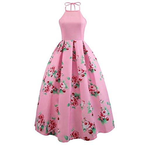 Zainafacai Women Halter Floral Long Swing Dress Sleeveless Prom Party Ball Gown Formal Evening Beach Maxi Dress (Pink, S) -