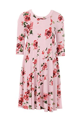 Honey Vanilla Girls' A-Line Trapeze Dress with Easy Removable Label Medium 7-8 Years Floral Blush (Girl With Out Dress)