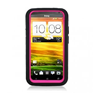 Aimo Wireless HTCONEXPCMX005S Guerilla Armor Hybrid Case with Kickstand for HTC One X - Retail Packaging - Black/Pink