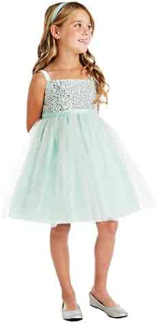 a5e67a15706 Sweet Kids Big Girls Mint Rhinestone Crystal Tulle Party Easter Dress 7-16