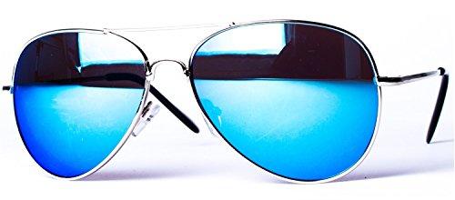Argenté charnière aviateur soleil Bleu à Lunettes ressort 4027 différentes Miroir de couleurs avec modèle SWPnnaUp