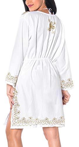 pi salone casual tutto bagno scollo in top elastico kimono abbigliamento collo profondo da rayon tunica signore Leela beachwear costume 1 ricamato La px8w1PXqX